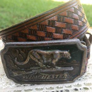 Vintage 1976 Winchester Belt Buckle & Belt